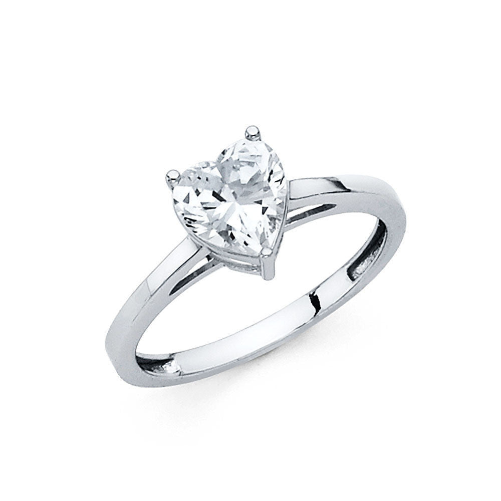 1.00 Ct Heart Diamond Solitaire Engagement Wedding Ring Solid 14K White Gold