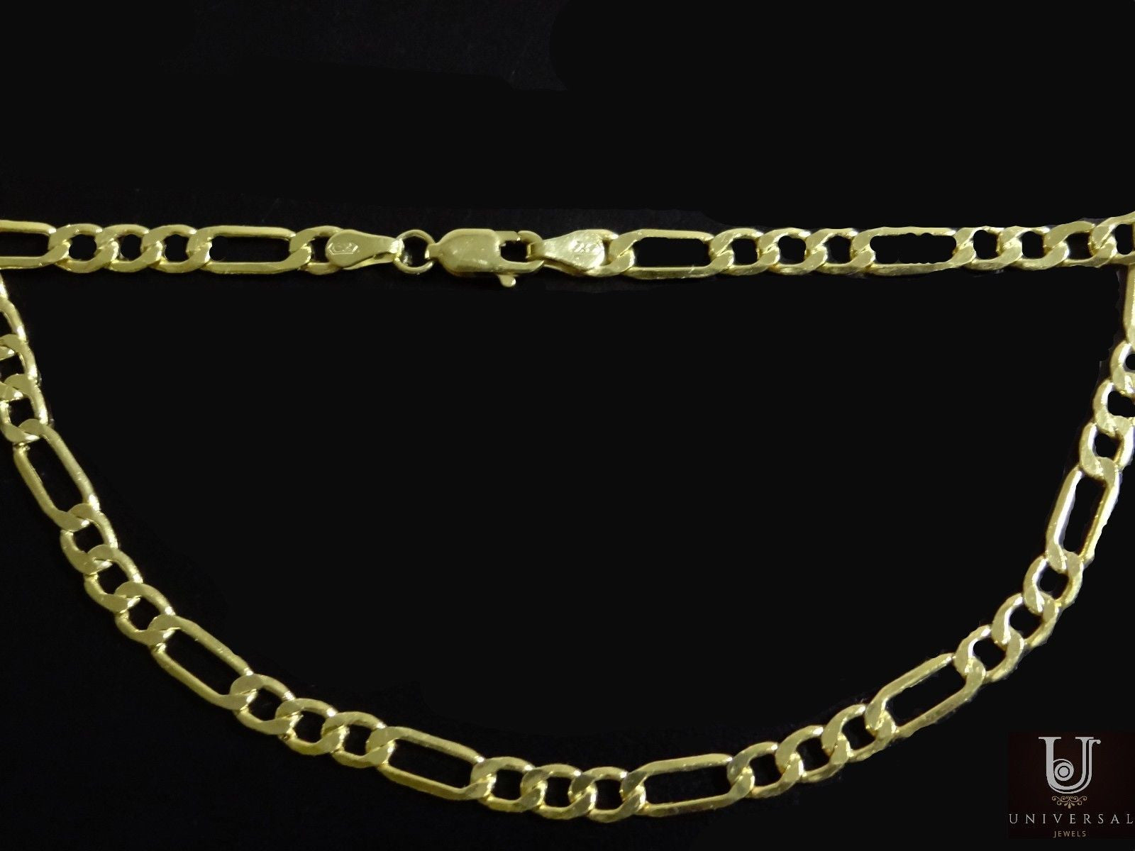 1e60abe07 Figaro Chain 14K Yellow Gold Necklace Men Women Necklace 4.35MM 20