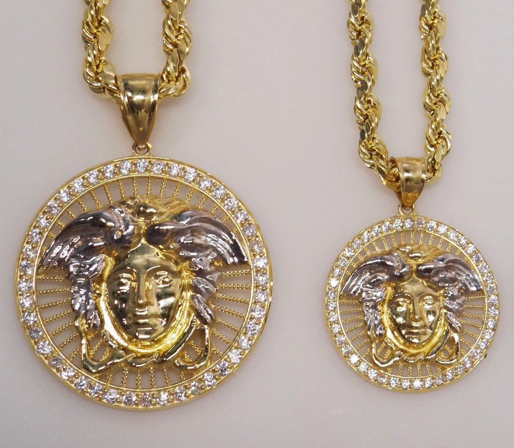 Men Women Heavy 10K Solid Yellow & White Gold Medusa Pendant Medallion Two Sizes