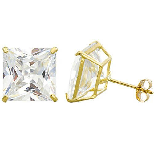 new-14k-solid-yellow-gold-stud-earrings-basket-set-princess-clear-cz-push-back-2-5mm-3mm-4mm-5mm-6mm-7mm-8mm