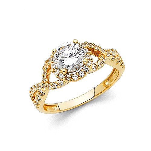 New 14K Yellow Gold Round Center & Round Side Stone 1.0ct. Engagement Ring 4mm