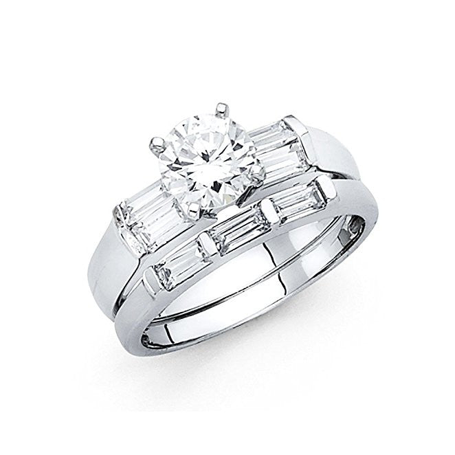 14K White Gold 1ct. Round Center Stone and Baguette Side Stone Engagement Ring 3mm