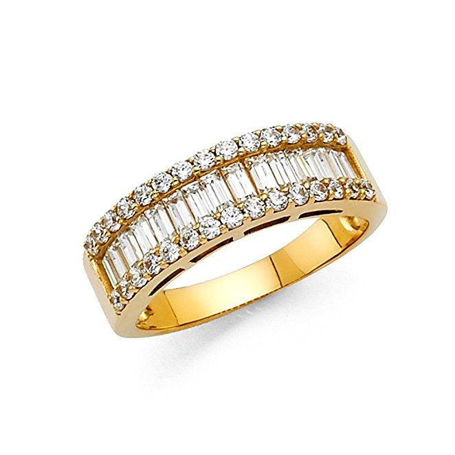 14K Yellow Gold 175ct Engagement Ring Baguette And Round Stone 65mm