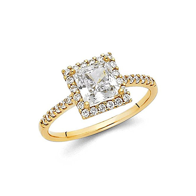 14K Yellow Gold Princess Center and Round Side Stone 1 ct. Engagement Ring 1.7mm