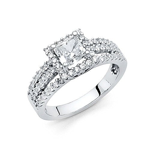 New 14K White Gold 1ct. Princess Center & Round Side Stone Engagement Ring 6.3mm