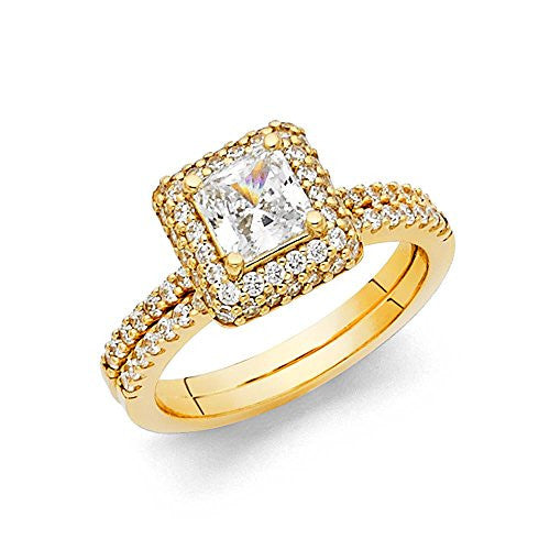 New 14K Yellow Gold 1.0ct. Center & Side Stone Women's Wedding Brand Engagement Ring 1.5mm