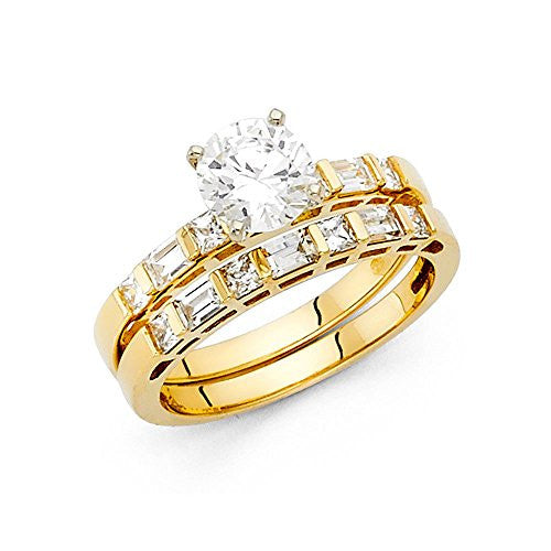 New 14K Yellow Gold 1.0ct. Round Center, Princess & Baguette Side Stone Women's Wedding Brand Engagement Ring 2.15mm