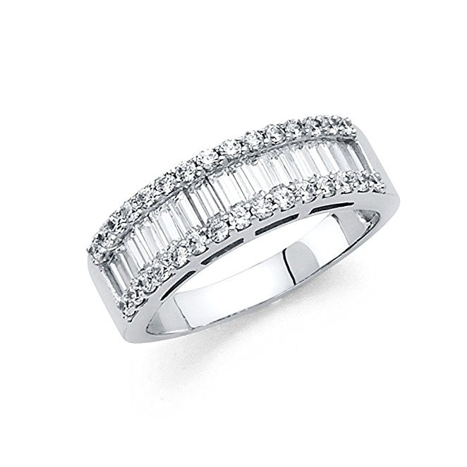 14K White Gold 1.75 ct. Engagement Ring Baguette and Round Shape Stone 6.5mm