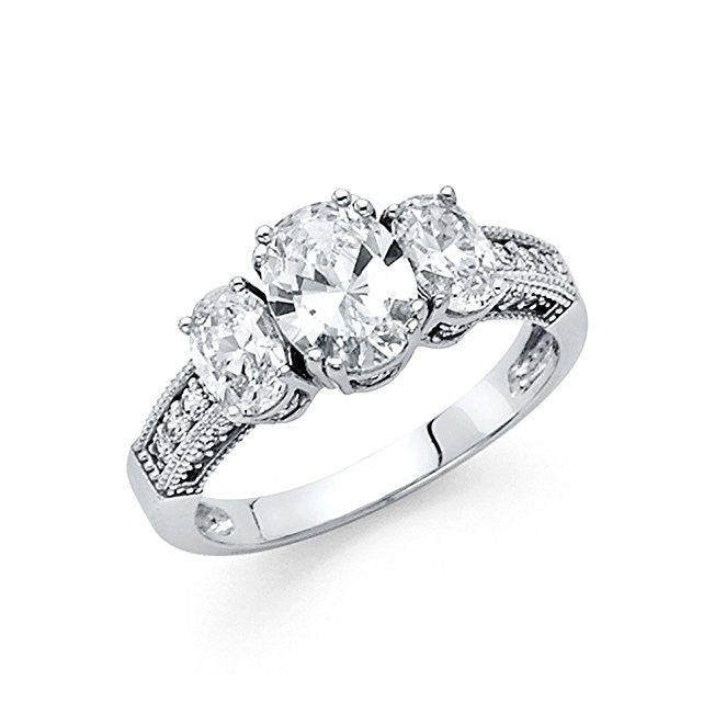 14K White Gold 1ct. Oval Center, Oval and Round Side Stone Engagement Ring 3mm
