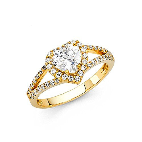 New 14K Yellow Gold 1.0ct. Heart Center and Round Side Stone Engagement Ring 3.5mm