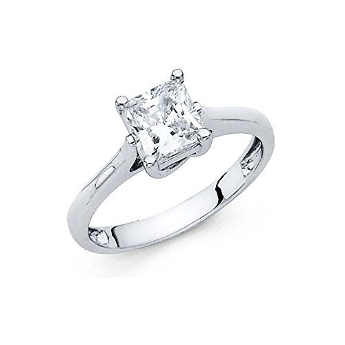 New 14K White Gold 1.45ct. Princess Shaped Stone Engagement Ring 2.5mm