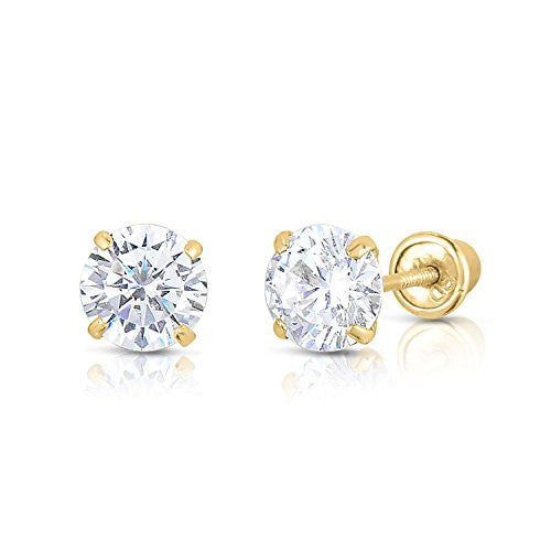 new-solid-14k-yellow-gold-cz-stud-earrings-basket-set-round-clear-cz-screw-back-2-5mm-3mm-4mm-5mm-6mm-7mm-8mm