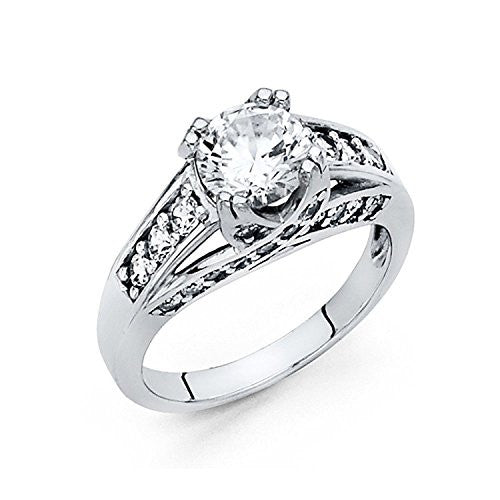 New 14k White Gold Solid 1.75 ct. Wedding Engagement Ring