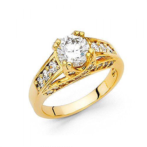 New 14k Yellow Gold Solid 1.75 ct. Wedding Engagement Ring