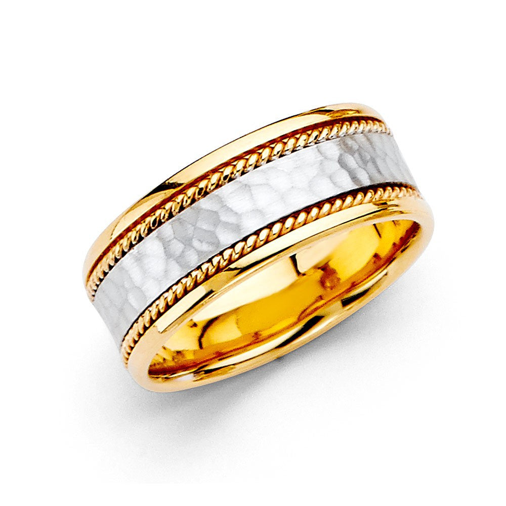 14k-two-tone-hammer-rope-wedding-band-8mm