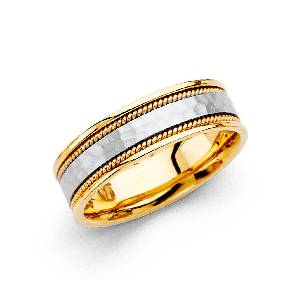 14k-two-tone-hammer-rope-wedding-band-6mm