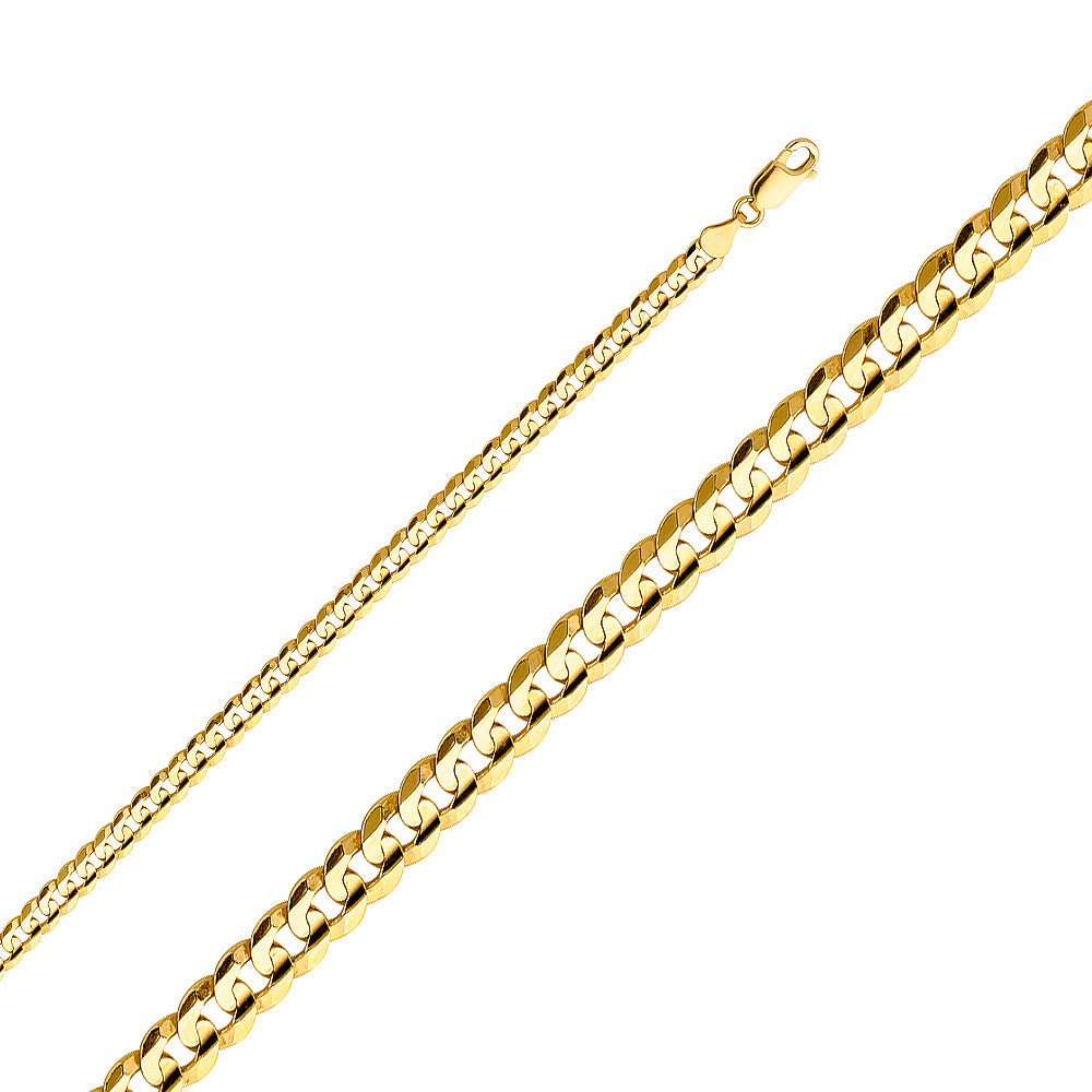"4.8MM- 12MM 14K SOLID YELLOW GOLD CUBAN LINK WOMEN MEN'S NECKLACE CHAIN 16""-30"""