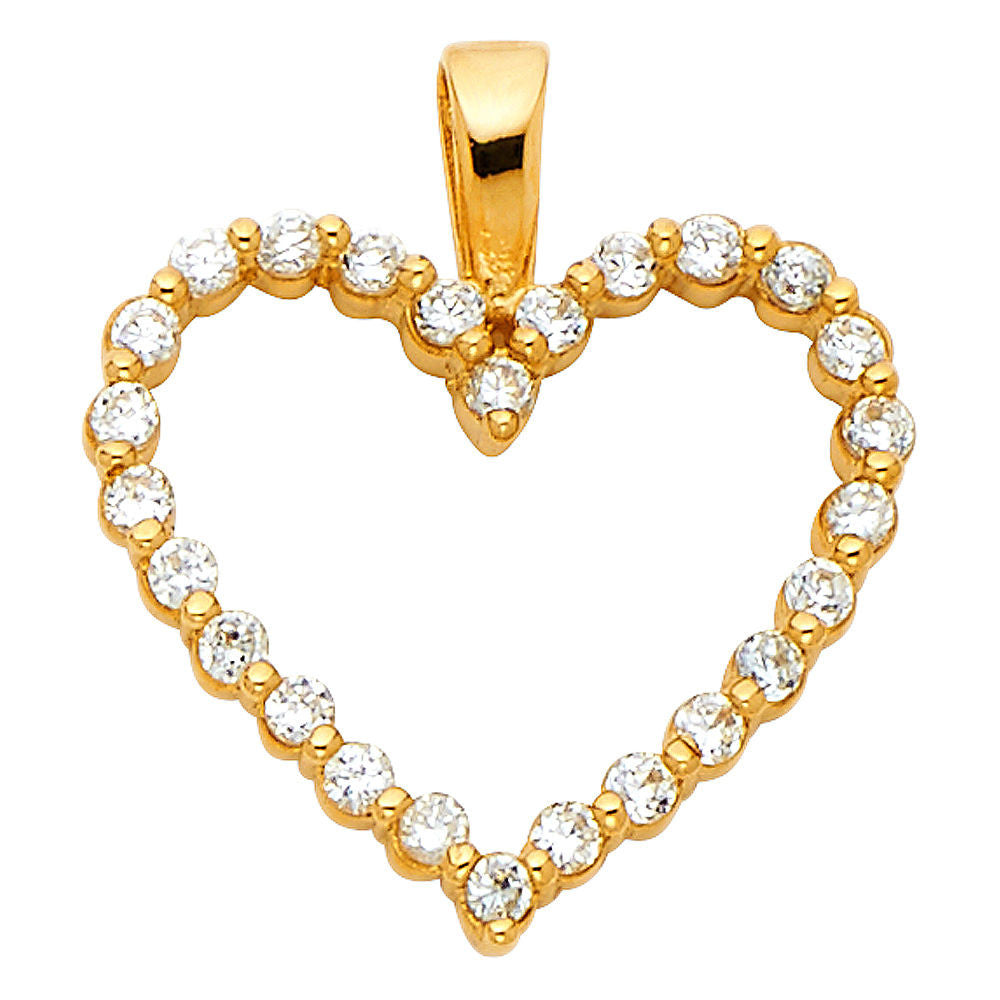 Solid 14k Yellow Gold Simulated Diamonds Heart Love Pendant Charm 5/8""
