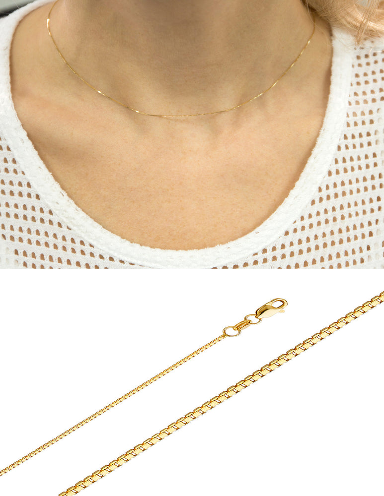 "Solid 0.8MM 10k yellow gold Chain Necklace Box chain Pendant 16-24"" 10kt gold"