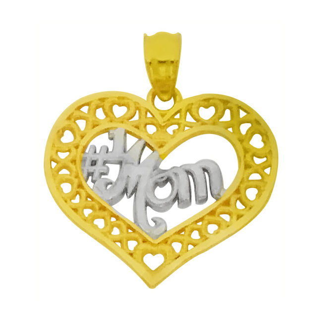 14k Two Tone Gold Open Heart '#1 Mom' Mother's Day Pendant Charm14K Solid Yellow Gold Classic Peace Sign Ladies Pendant Charm