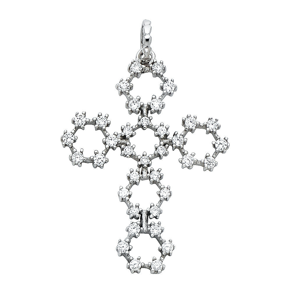 14K Solid White Gold Circle Cross Pendant Round CZ Cubic Zirconia