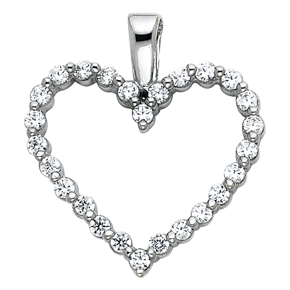 14K White Gold Open Love Heart Round CZ Cubic Zirconia Ladies Pendant Charm