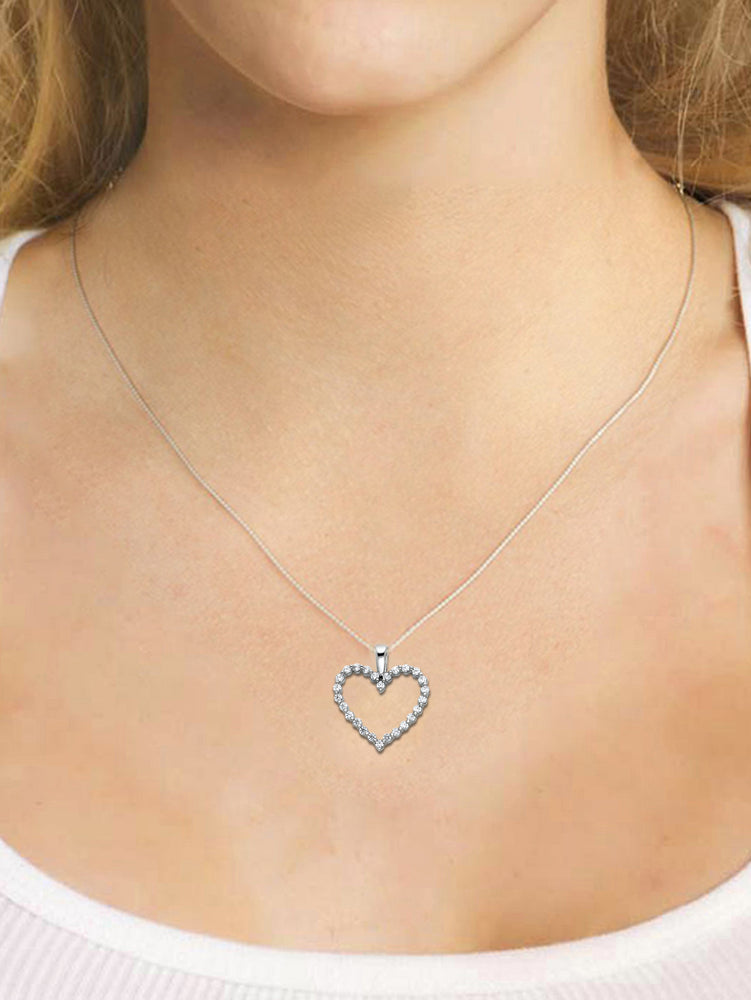 Open Heart Pendant - 14K White Gold