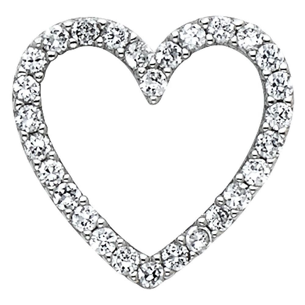 14K White Gold Open Love Heart Round Cut CZ Cubic Zirconia Pendant Charm
