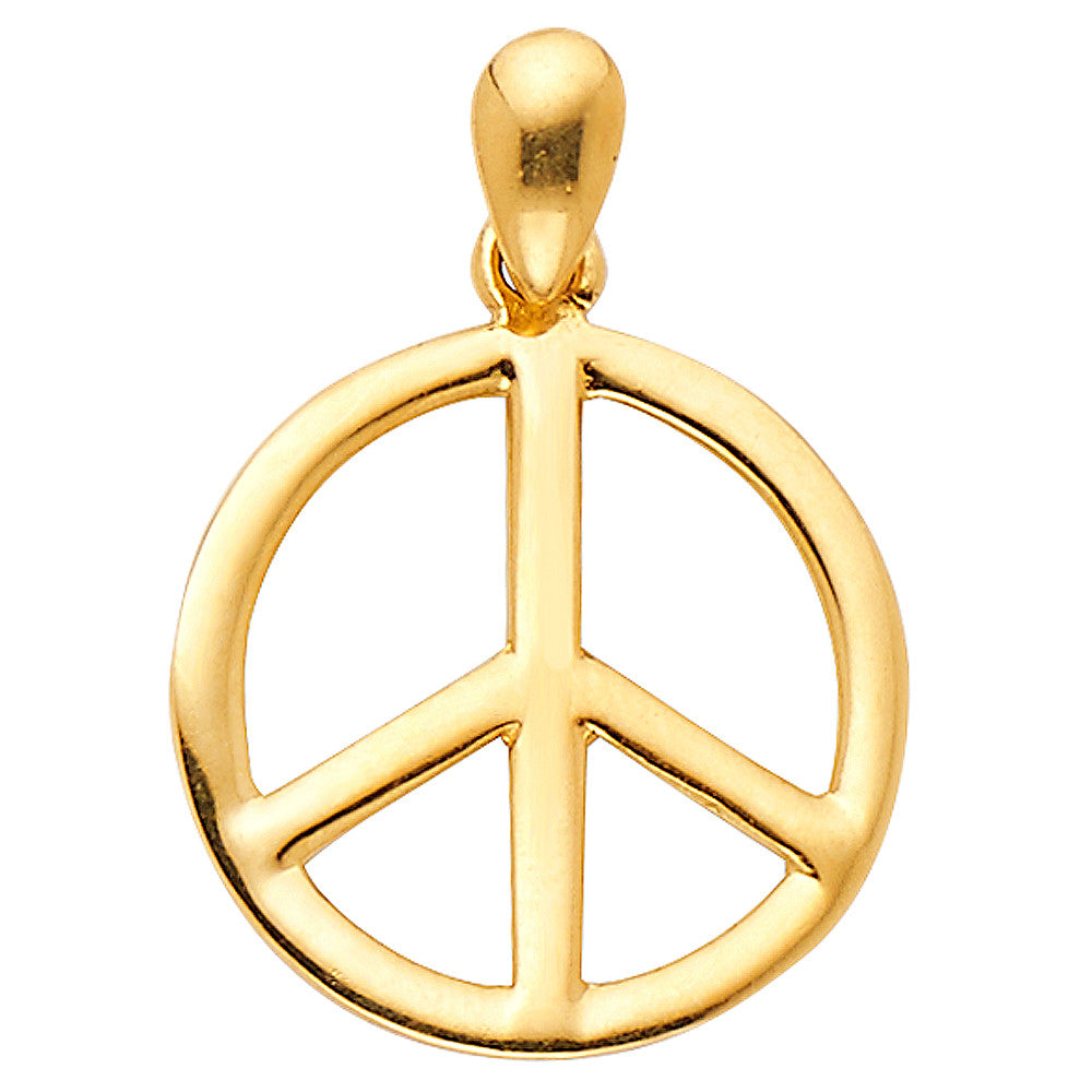 14K Solid Yellow Gold Classic Peace Sign Ladies Pendant Charm