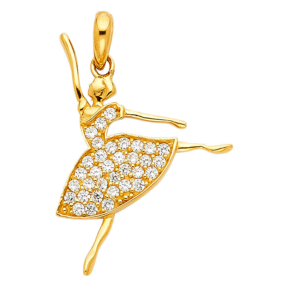 CZ Pendant - 14K Solid Yellow Gold