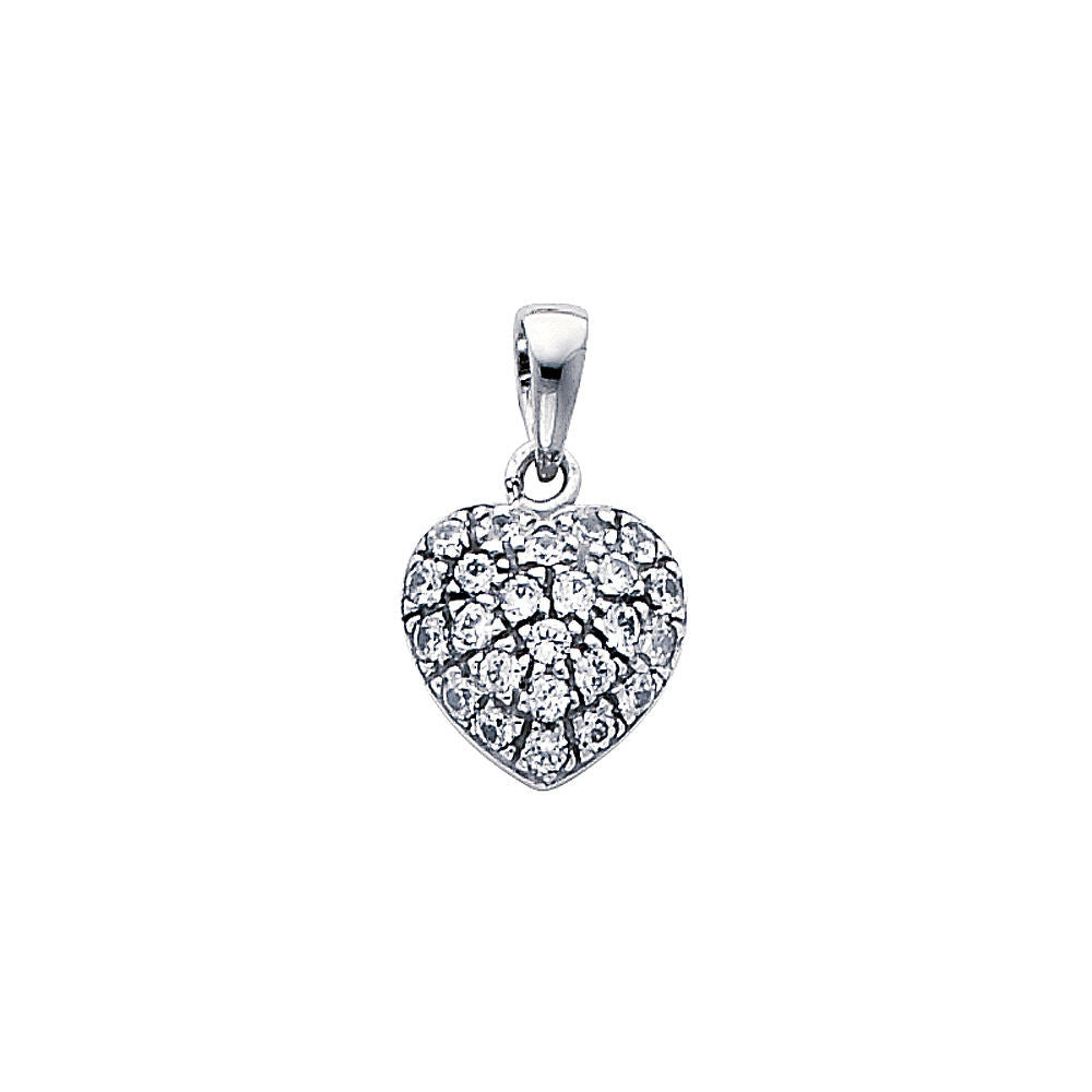 "14K White Gold Journey Heart Love Simulated Diamond Pendant 1/2"" Inches"