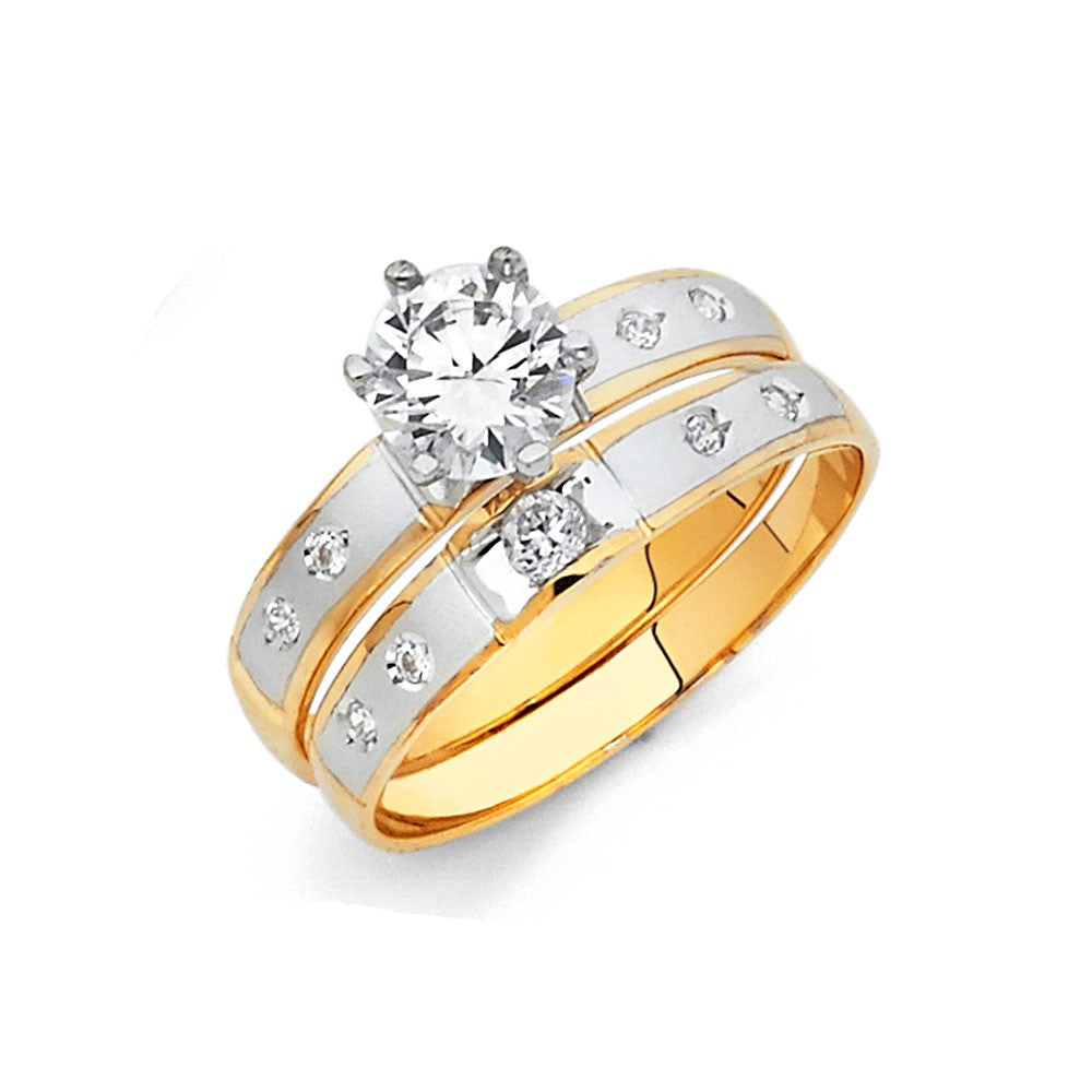 2tone Cz 14k Engagement Ring Only 3mm