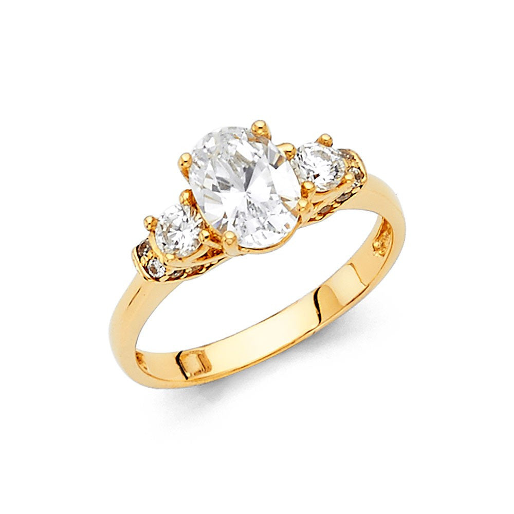 14K Yellow Gold CZ Engagement Ring 2.5mm