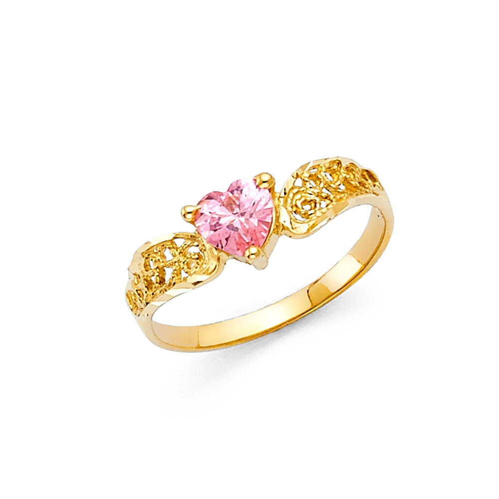 14K Yellow Gold Ladies Fancy CZ Ring 5mm
