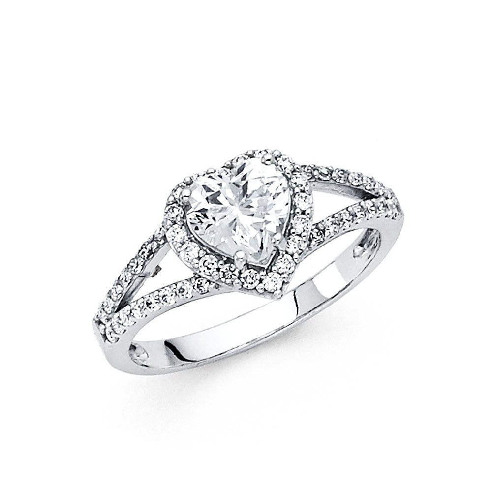14K White Gold CZ Engagement Ring 4mm