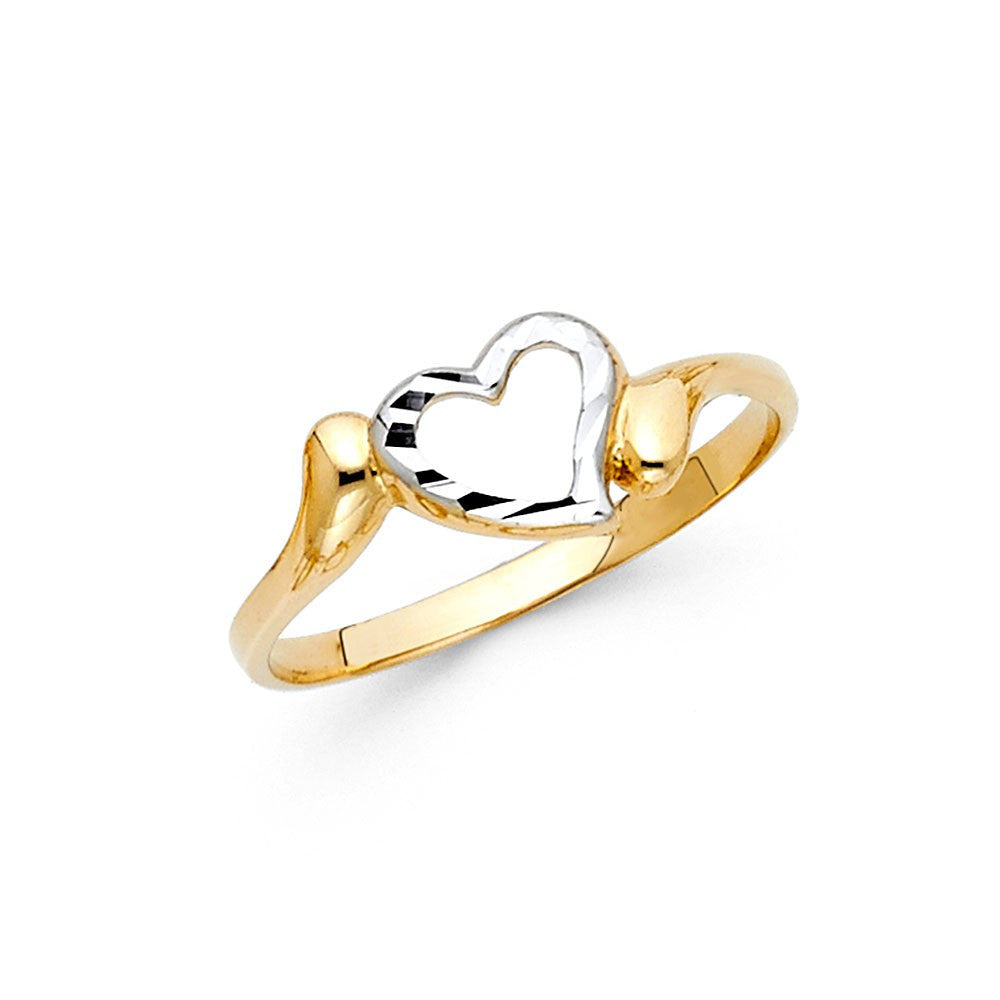 14K 2Tone Gold Heart Ring 7mm