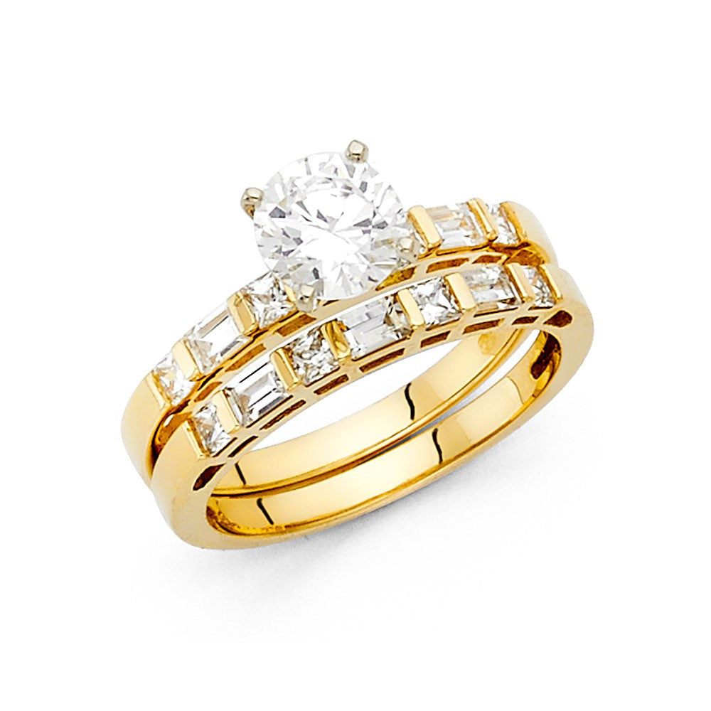 14K Solid Yellow Gold CZ Engagement Ring 3mm