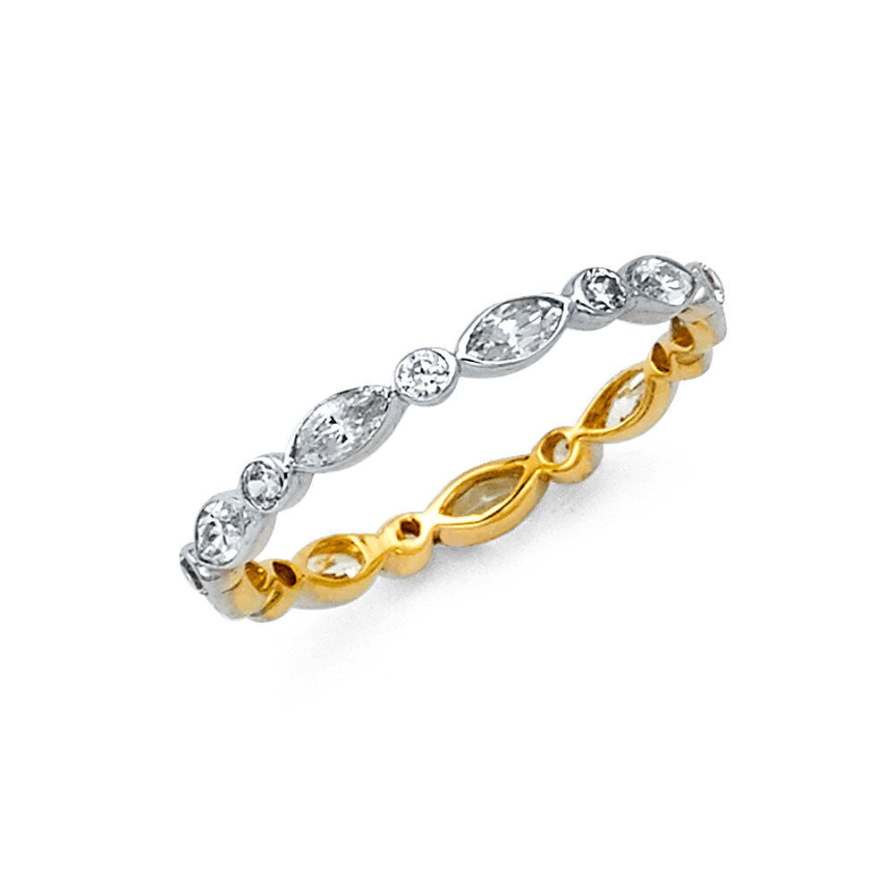 ring cut round band diamond eternity yellow gold claw brilliant half bands set