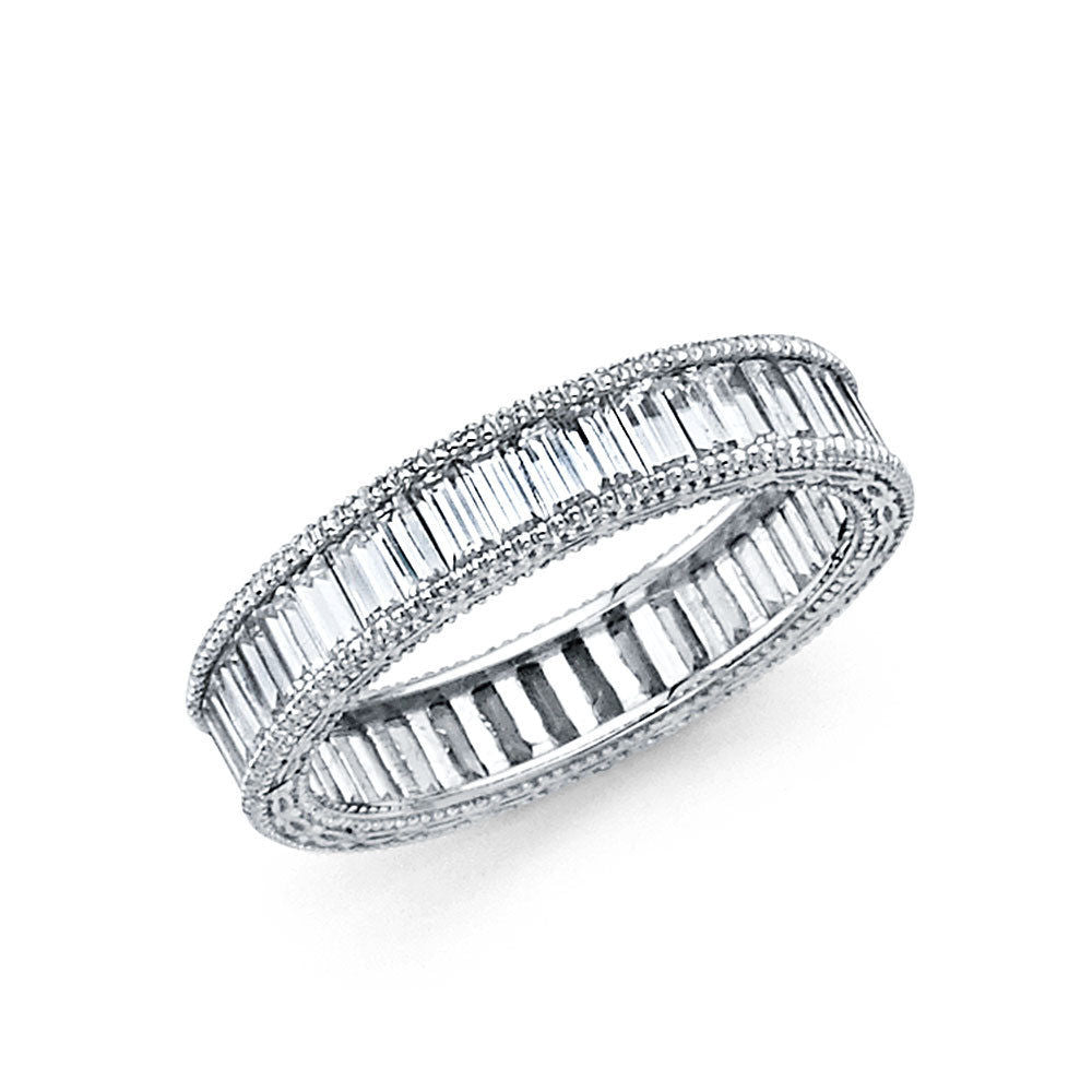 2 CT Baguette 14k Solid White Gold Diamond Eternity Band Stackable Ring Endless Wedding Band