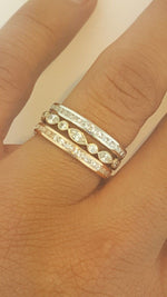 14k Solid Rose Gold Diamond Eternity Band Stackable Ring Endless Band