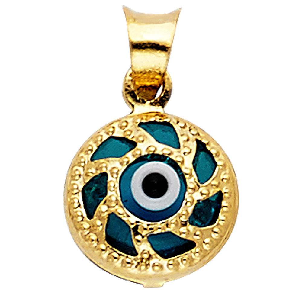 14K Yellow Gold Evil Eye Pendant Charm