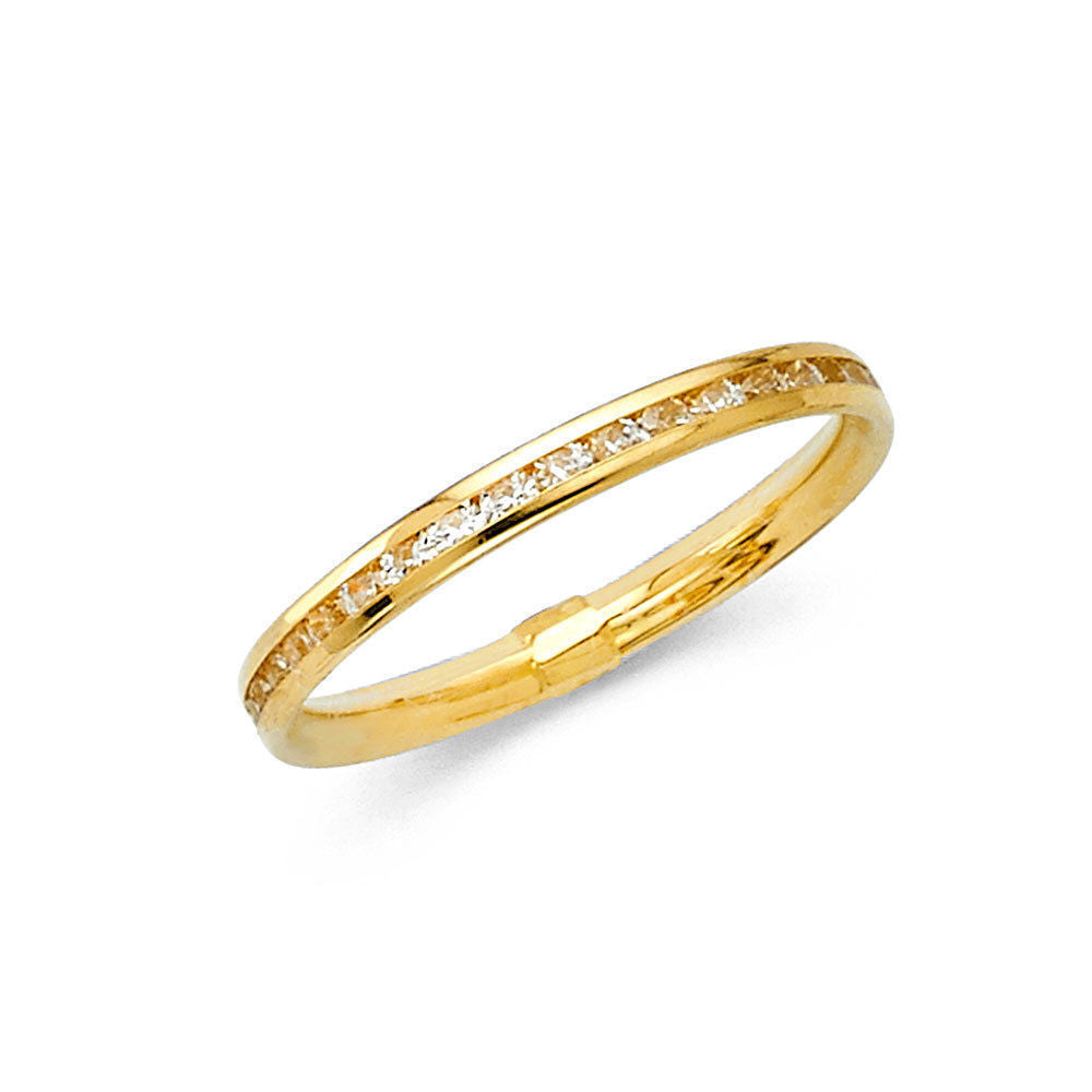 14K Yellow Gold Round Channel Set Eternity Endless Anniversary Wedding Ring Band