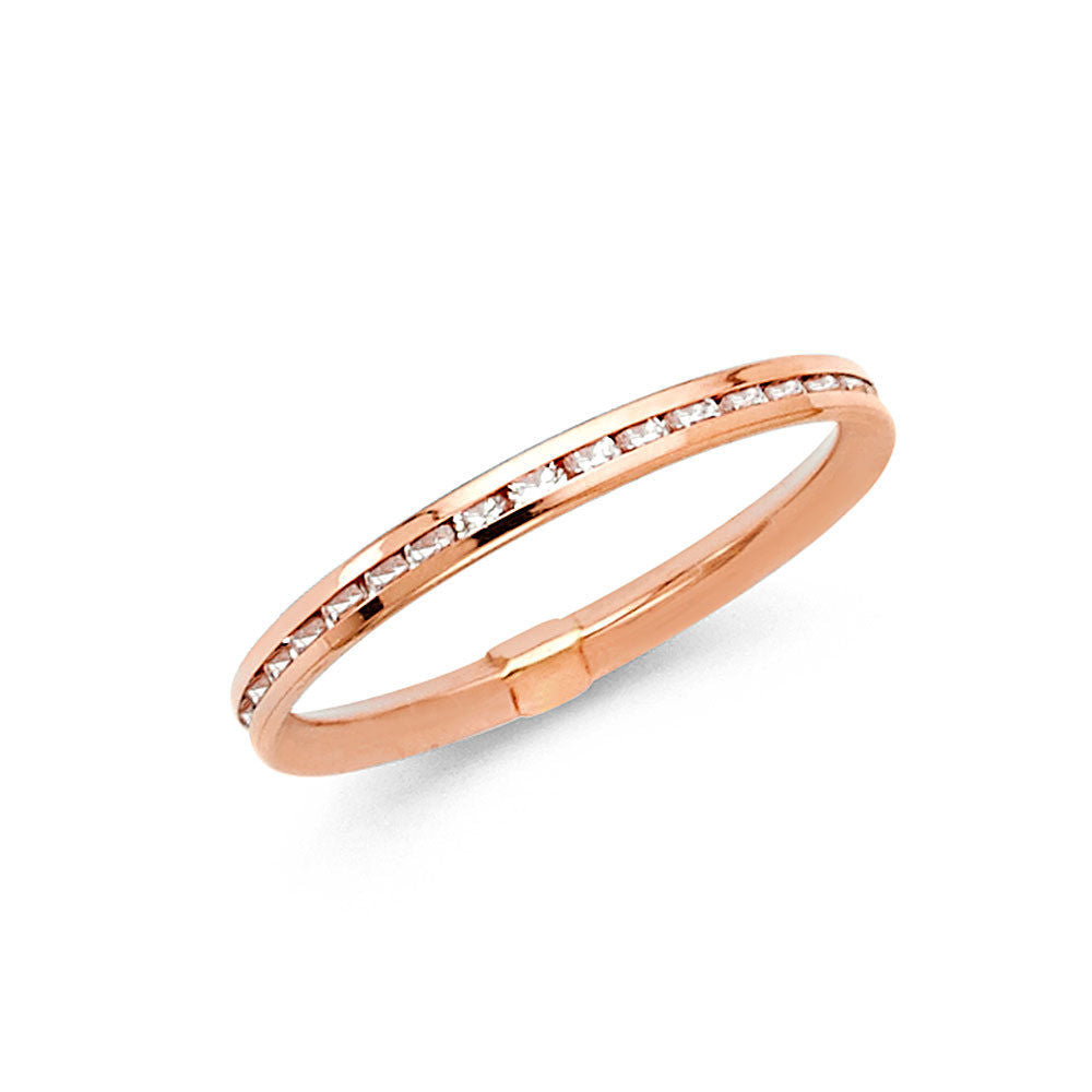 band half ring rose gold brilliant cut claw bands eternity round diamond set