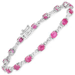 7.49 Carat Genuine Ruby and White Diamond 14K White Gold Bracelet