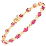 14K Yellow Gold 7.49 ct Bracelet White Diamond Ruby Oval Gemstone 7 inches