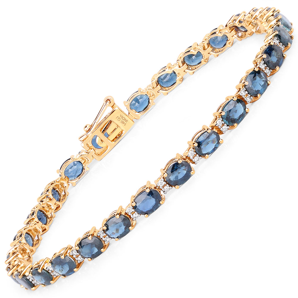 12.97 Carat Genuine Blue Sapphire and White Diamond 14K Yellow Gold Bracelet