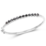925 Sterling Silver Bracelet Genuine 2.10 ct Black Diamond Gemstone 7.50 inches