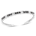 925 Sterling Silver Bracelet Genuine 1.88 ct Black Diamond Round 7.50 inches