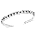 925 Sterling Silver Bangle Bracelet Black Diamond 1.88 ct Gemstone 7.50 inches