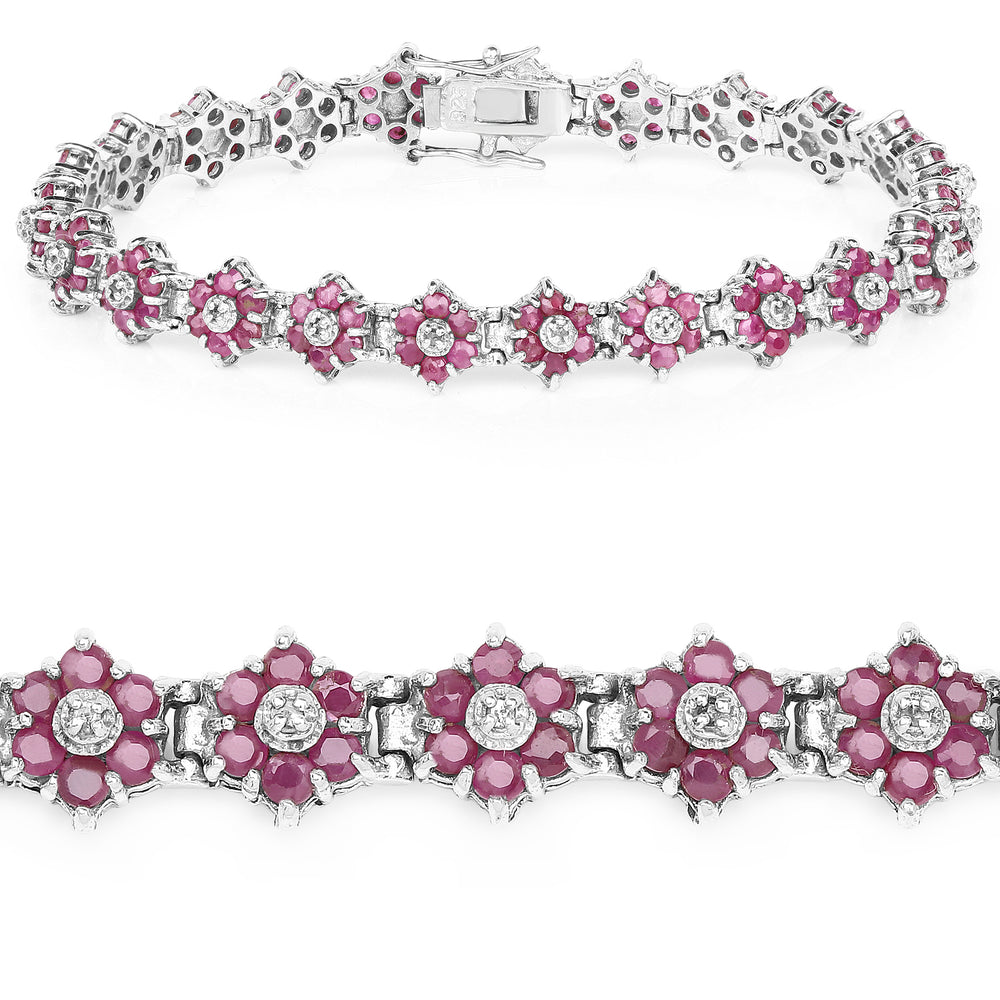 925 Sterling Silver Bracelet 7 ct Ruby Round Diamond Gemstone 7.25 inches